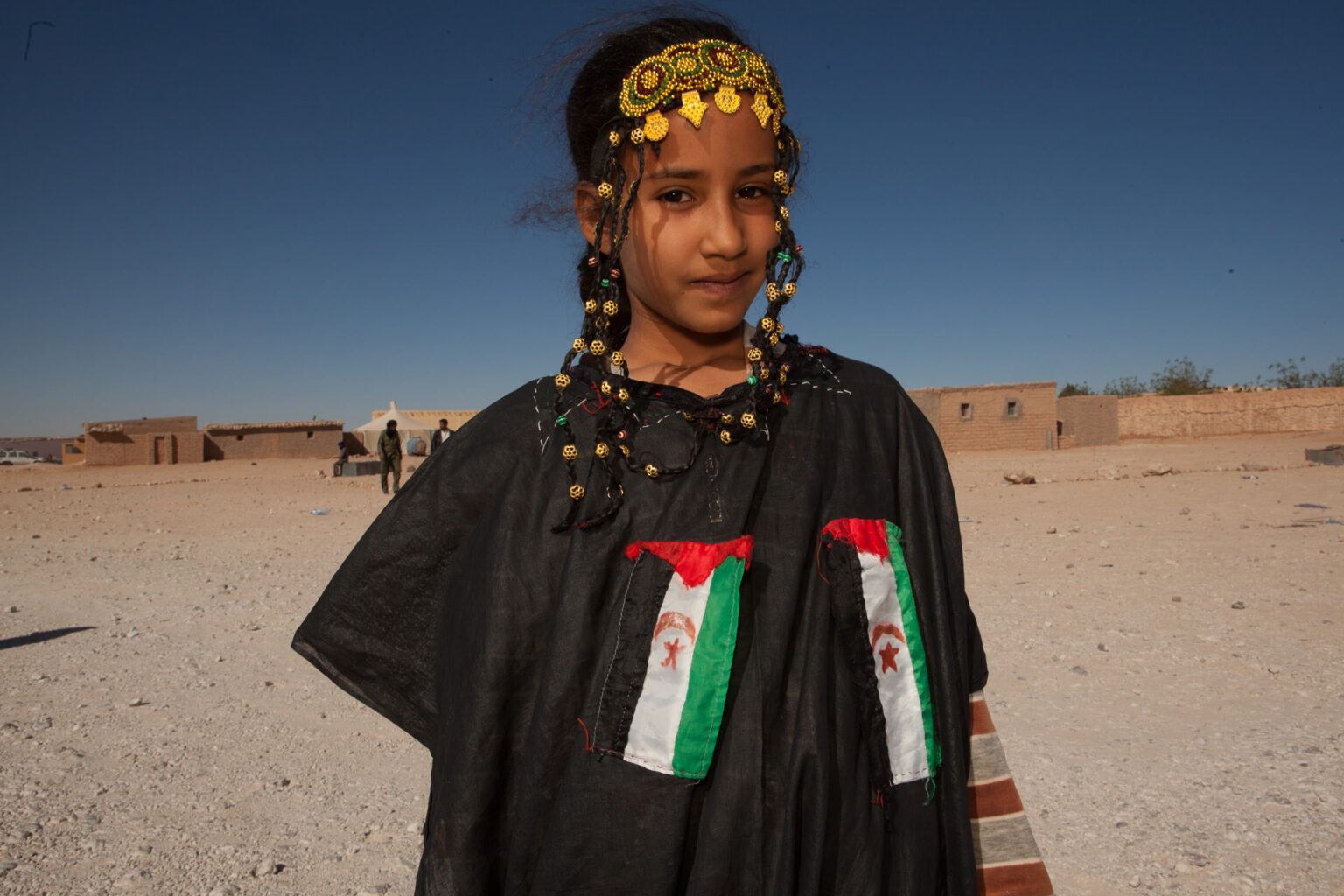Girl dressed for Independence Day Parade, Laayoune Refugee Camp, Algeria, 2015