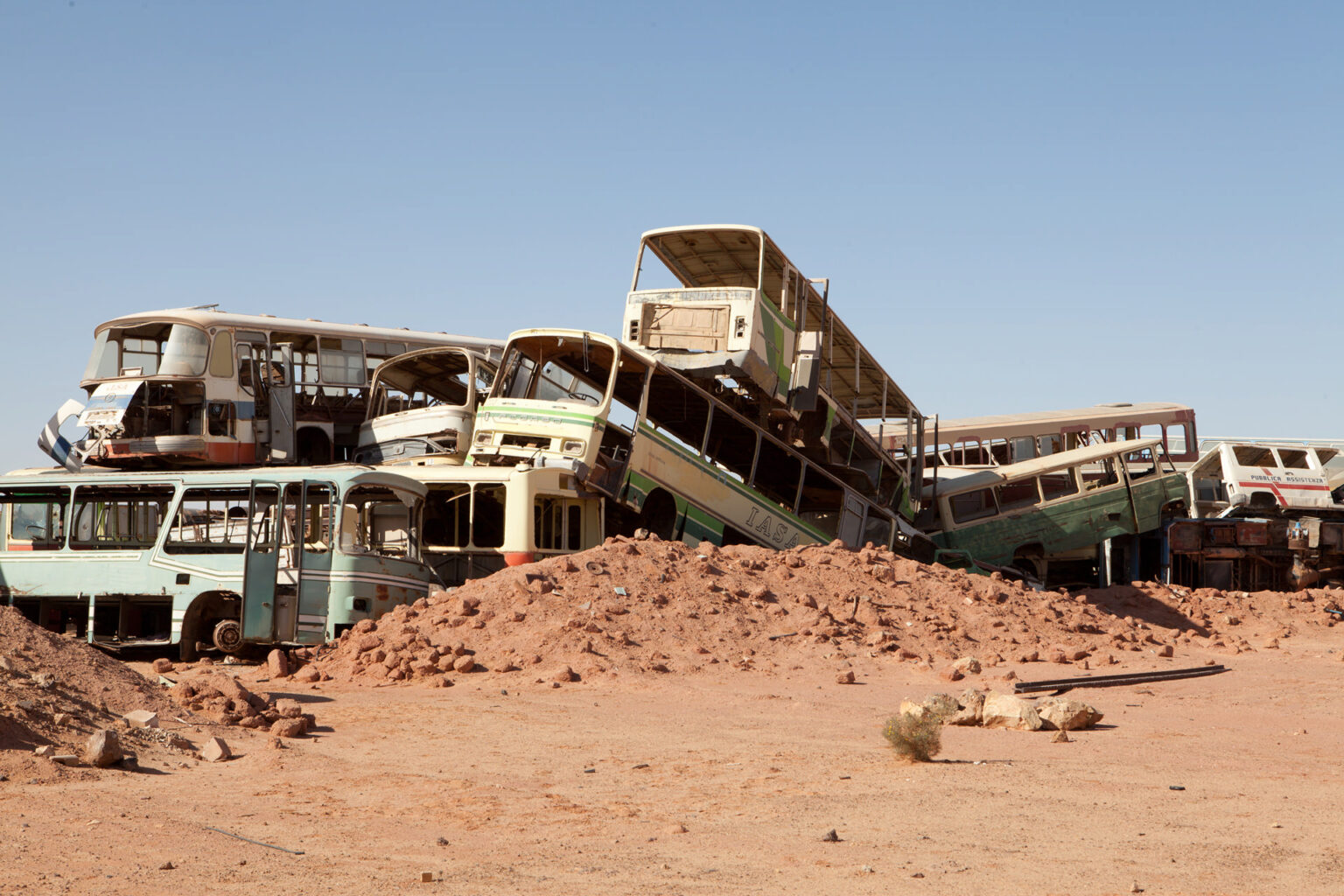 Abandoned busses, Tindouf Refugee Camp, Algeria, 2015