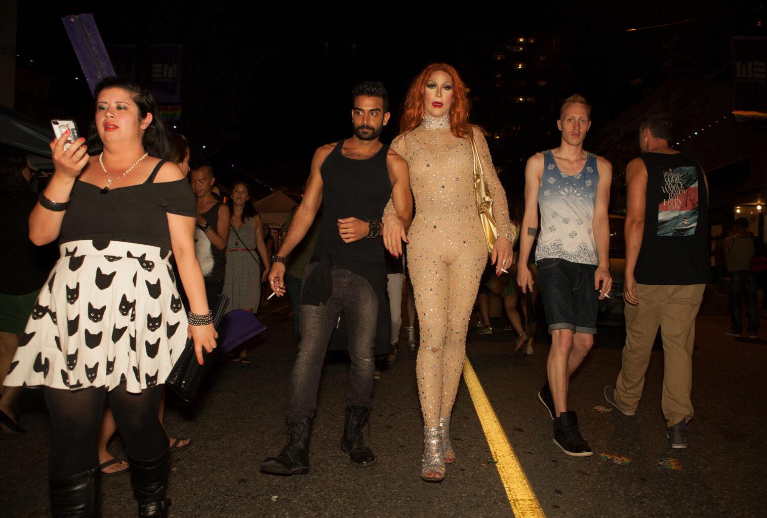 Gold bodysuit, Vancouver Pride, Canada, 2014